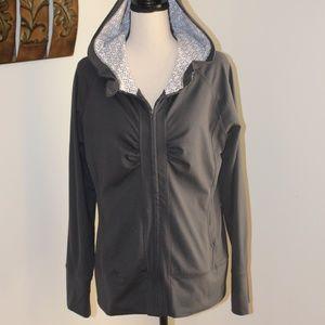 Mandarin Blue, zip-up hoodie dark grey large.   C2